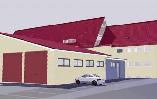 Entwurf der Außenansicht für das neue Quartier der Bilshäuser Feuerwehr mit Fahrzeughalle und Verbindungstrakt zum Schulgebäude.