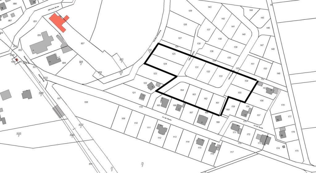 Lage der 12 neuen Baugrundstücke im Baugebiet Teufelsgraben