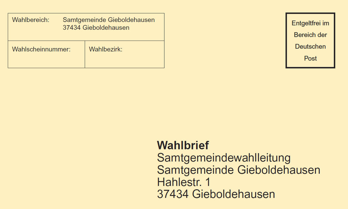 Wahlbrief Samtgemeinde Gieboldehausen (Muster)