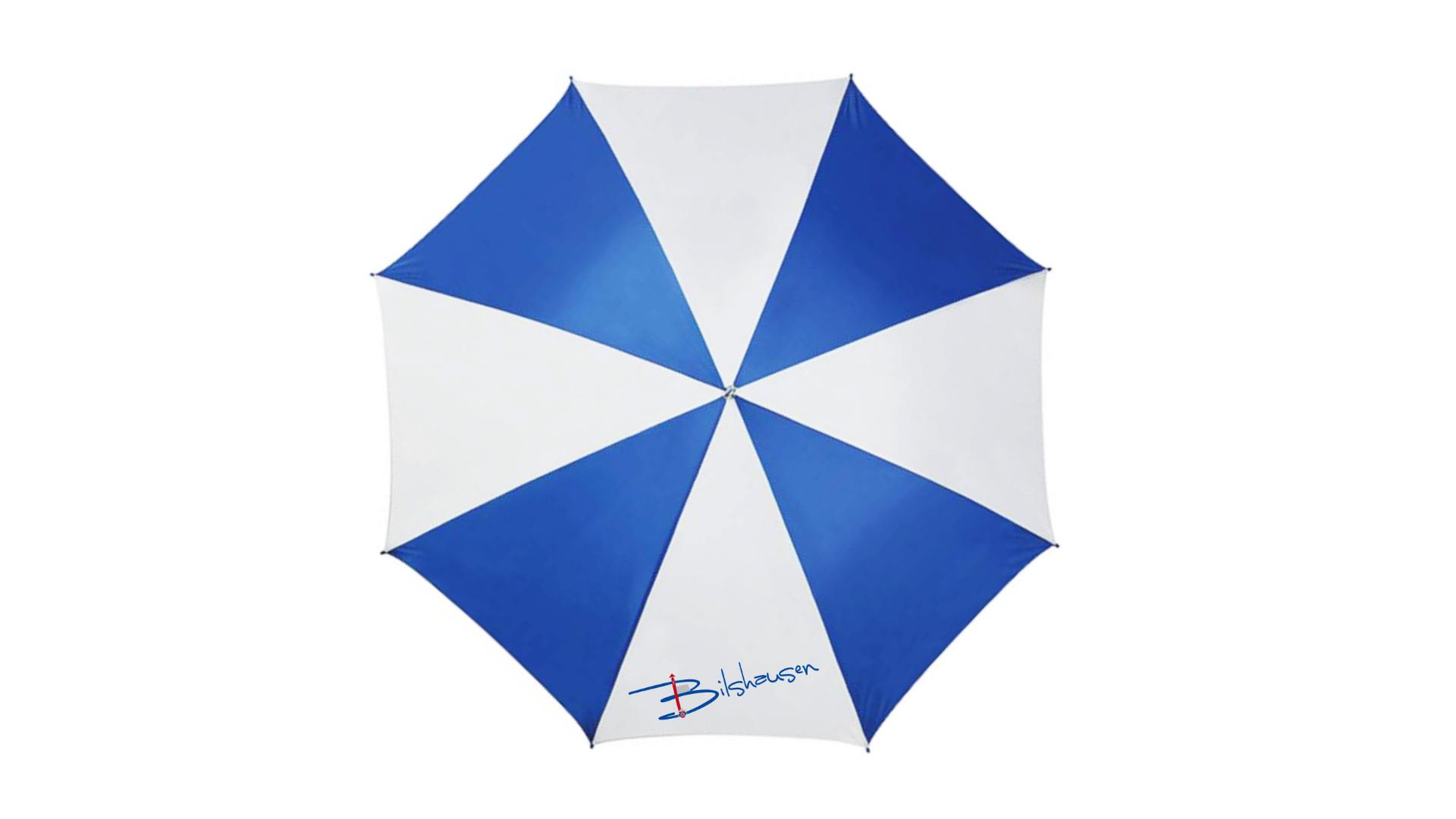 Regenschirm der Gemeinde Bilshausen. Ab sofort im Gemeindebüro käuflich zu erwerben.