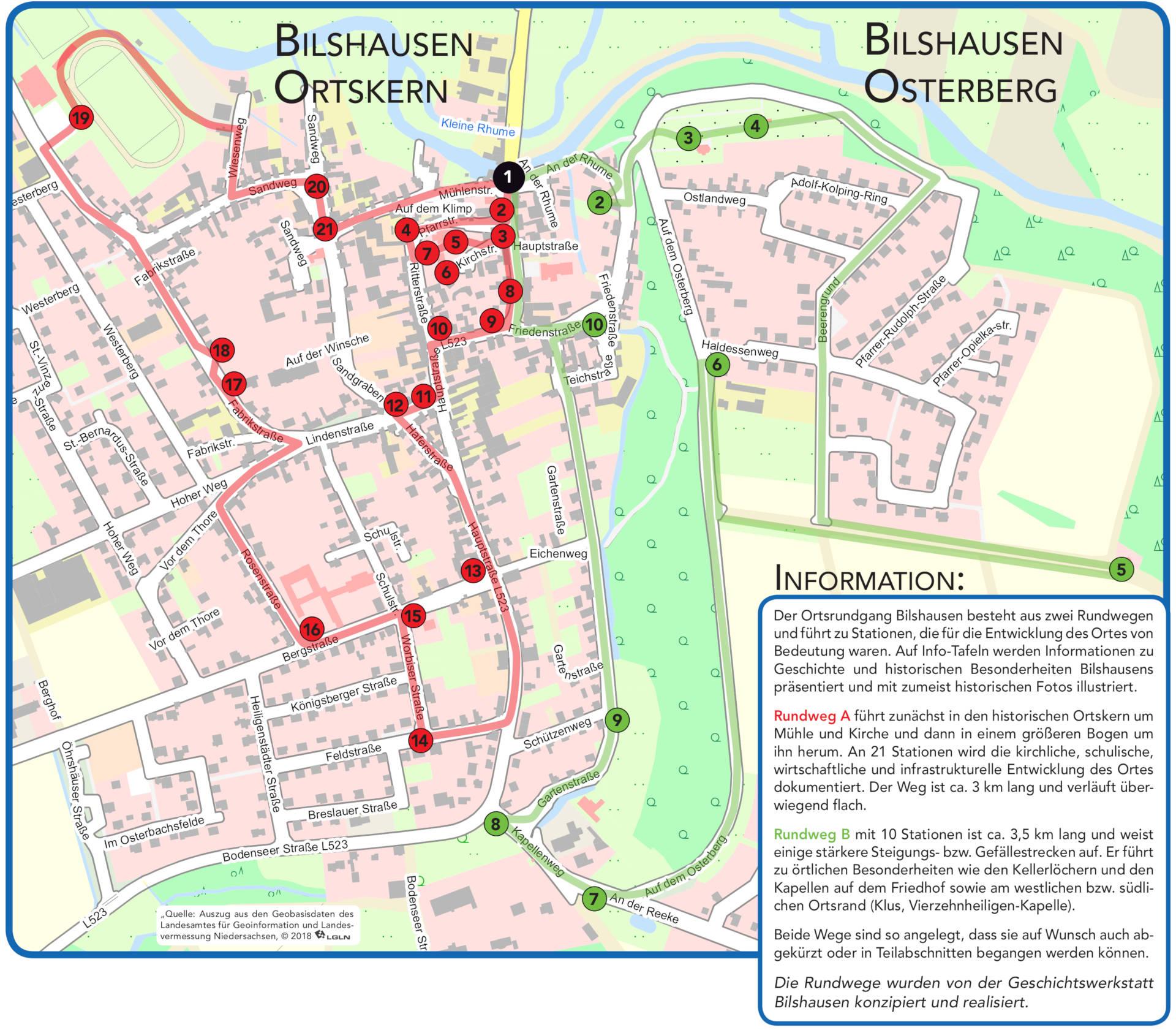 Ortsrundgang Bilshausen - Übersichtskarte